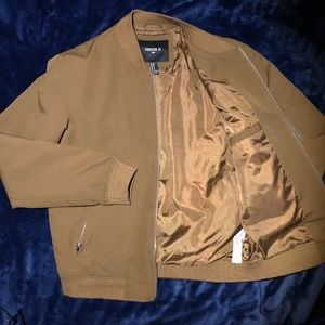 Forever 21 Midweight Bomber sz M - Gold/Tan